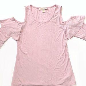 MICHAEL Michael Kors Pink Ribbed Cold Shoulder Top